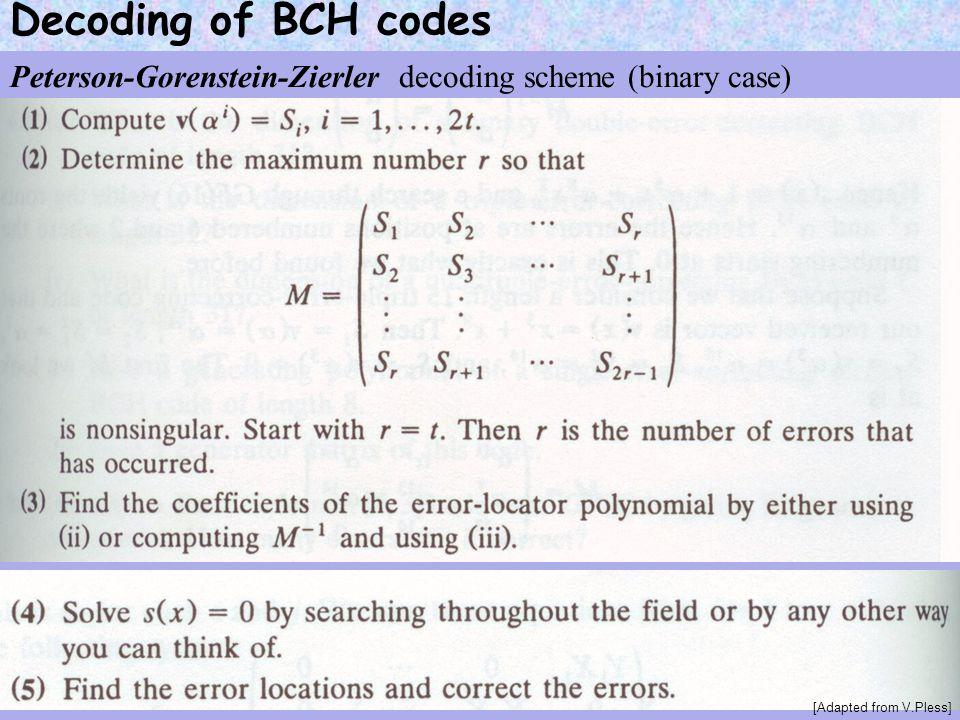 Decoding of BCH codes Peterson-Gorenstein-Zierler decoding scheme (binary case) [Adapted from V.Pless]